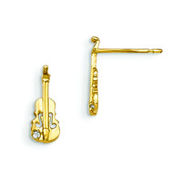 14k Madi K CZ Children's Violin Post Earrings GK838