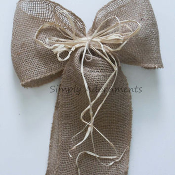 "9"" Rustic Natural Burlap Wedding Pew Bows Jute Burlap Bows Burlap Themed Party Decoration Bows Rustic Wedding Chair Sign Decoration"