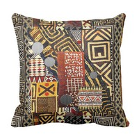 Abstract African Style Mud Cloth Design Throw Pillow