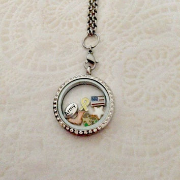 Living locket large silver stainless with crystals Army proud