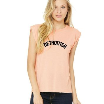 Ink Detroit Women's Detroitish Flowy Muscle Tee with Rolled Cuff