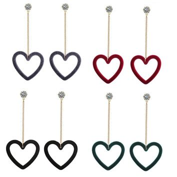 1 Pair Hollow Heart Fashion Charming Stud Earrings Long Pendant Temperament Velvet Love Earrings For Women Gifts