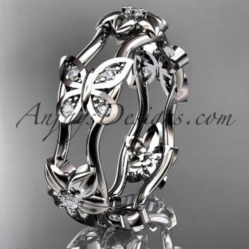 platinum diamond floral butterfly wedding ring, engagement ring, wedding band ADLR153. nature inspired jewelry