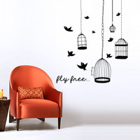 Interior Wall Decal Vinyl Sticker Decor Sign fly free cell cage bird wings flight Bedroom quote gift Animals Modern Bedroom Fashion (m1388)