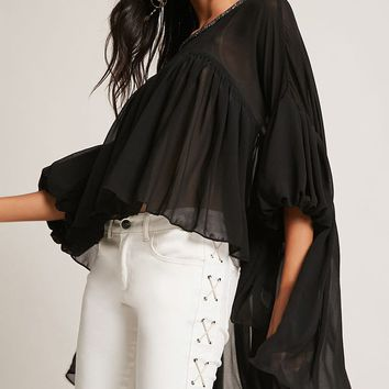 Beaded Chiffon High-Low Top