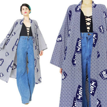Vintage Japanese Kimono Navy White Printed Cotton Kimono Asian Jacket Long Robe House Coat Mens Dressing Gown Maxi Draped Slouchy (L/XL)