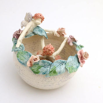 OOPS- Annual clearance of discontinued or slightly flawed items -fairy flower bowl in stoneware, one of a kind