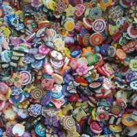 Fimo Cane Slices  500 Mixed Slices by CustomNailArt on Etsy