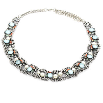 multiple colour crystal and pearl silver side necklace