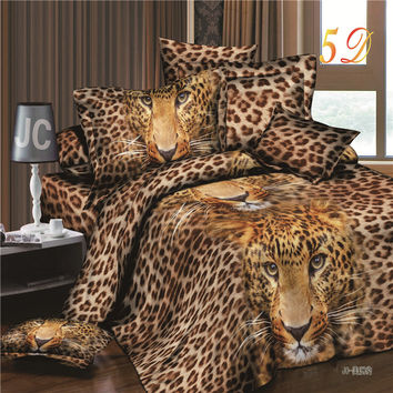 2016 New Arrival 3d Bedding Sets Leopard Printed Queen Size 4Pcs Bedclothes Pillowcases Bed Sheet Duvet Cover Set.