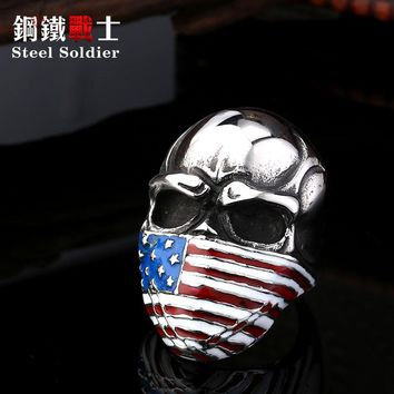steel soldier new style stainless steel skull ring American flag mask ring fashion biker heavy skull 316l steel jewelry