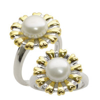 8-8.5mm Freshwater Pearl Flower Ring