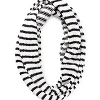 FOREVER 21 Striped Knit Infinity Scarf Cream/Black One
