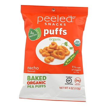 Peeled Organic Bake Pea Puffs - Nacho - Case Of 12 - 4 Oz