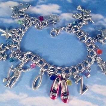 Wizard of Oz Charm Bracelet Red Ruby Slippers Girls Women's Fashion Jewelry