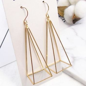 ES283 3D Triangle Drop Earrings Women Dangle Earring Fashion Jewelry Brincos oorbellen Ear Jewelry Steampunk Pendant