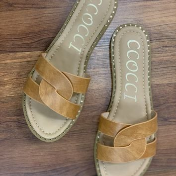 Crossover Slip On Sandals in Tan