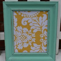 Dry Erase board Tiffany Blue frame with modern yellow fabric distressed home decor wall hangings wedding decor