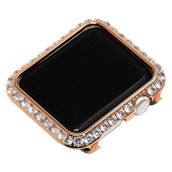 Apple Watch Band Bezel Series 4 Rose Gold Case Cover 40mm 44mm Large 3mm Rhinestone Crystals Lab Diamonds Womens Mens Cz's Bling
