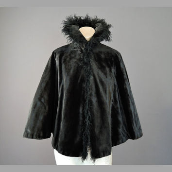 Victorian Black Faux Fur Cape with Curly Goat Fur Trim and High Collar, 1800s