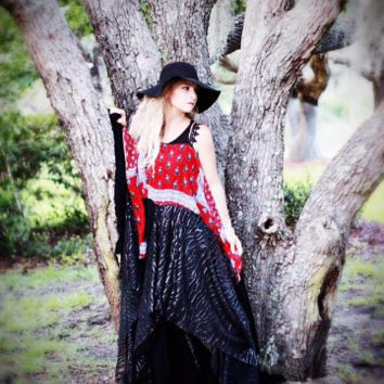 Plus sz Stevie Nicks Boho Maxi dress, Coachella Festival Sundress, True rebel clothing