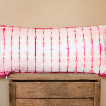 Bright Pink and Coral Stripe Shibori Pillow Cover- coral pink, salmon and dragon fruit shibori cushion cover, one of a kind bolster pillow