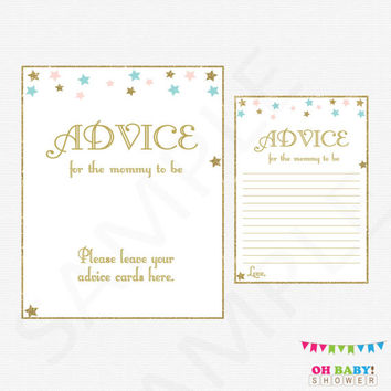 Gender Neutral Baby Shower, Twinkle Twinkle Little Star Baby Shower Advice for Mommy to be and new parents Pink Blue Gold Baby Shower, STPBG