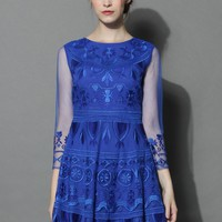 Treasure Embroidered Mesh Dress in Royal Blue