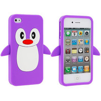 Purple Penguin Silicone Design Soft Skin Case Cover for Apple iPhone 4 / 4S