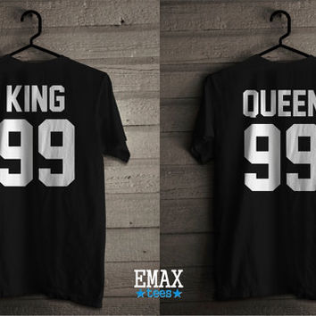 King and Queen Shirts for Couples, 100% Cotton King Queen Tees, Matching Set T-shirts Unisex Tees