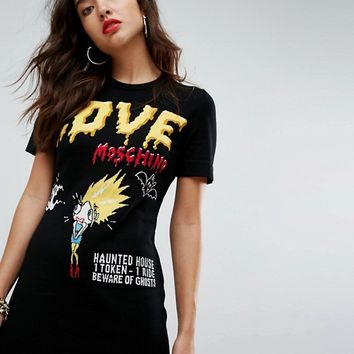 Love Moschino Oh The Horrors Halloween Knit Dress at asos.com