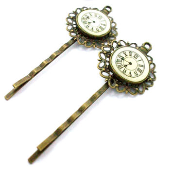 Hair Pins: Steampunk Pocket Watch Bobby Pins with Antique Bronze Setting- Victorian Hair Accessories, Halloween Hair, Clock Hair Pins
