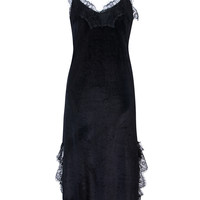 Black Velvet Spaghetti Strap Lace Trim Maxi Dress