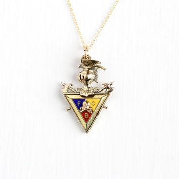 Antique Yellow Gold Filled Double Sided Knights of Pythias Pendant Necklace - Vintage Edwardian Enamel FCB Fraternal Charm Jewelry Fob