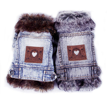 Denim Dog Clothes Winter Fur Collar Dog Coat Thick Warm Pet Clothes Jeans Coat for Small Pets Cat and Dog Bichon Chihuahua Yorki