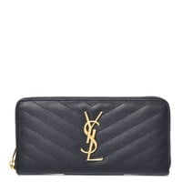 SAINT LAURENT Grain De Poudre Matelasse Chevron Monogram Zip Around Wallet Deep Marine
