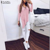 Women Lace Up V Neck Long Sleeve Side Split Shirt