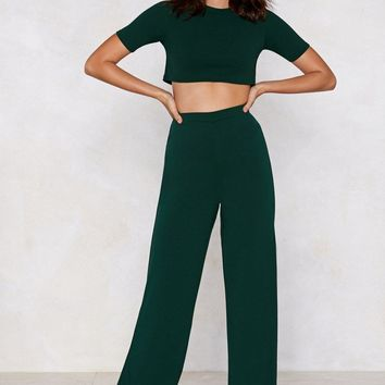 Settle the Score Crop Top and Pants Set