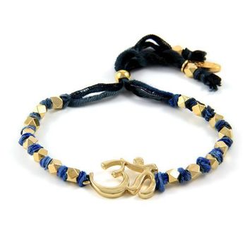 Multi Denim Knotted Vintage Ribbon Adjustable Bracelet with Gold Om Symbol Charm