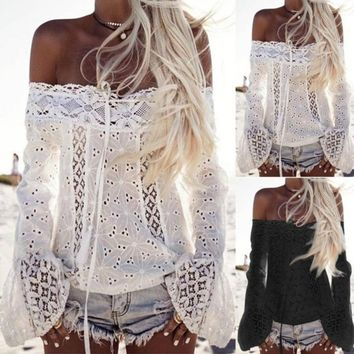 Women Sexy Hollow Out Lace Embroidery Crop Top Flare Sleeve Casual Summer T Shirt