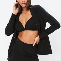 Missguided - Nabilla x Missguided Black Stretch Tailored High Waist Shorts