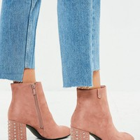 Missguided - Pink Studded Heeled Faux Suede Ankle Boots