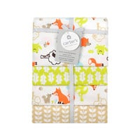 Carter's Fox Print 4 Pack Flannel Receiving Blanket