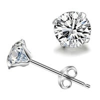 Korean simple silver plated stud earrings for women men round small zircon earrings beautiful cz diamond cool jewelry