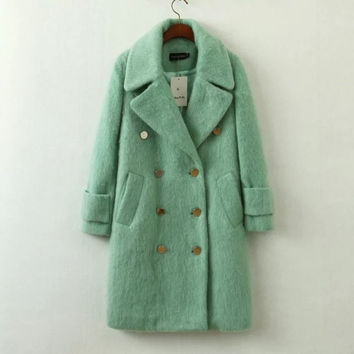 Green Collar Sleeve Button Coat
