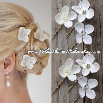 Mini Bridal hair pins, Wedding headpiece, set 3 small Bridal hairpiece, Small Ivory Hair Pins Fascinator Rhinestone hair pin Pearl hair pin