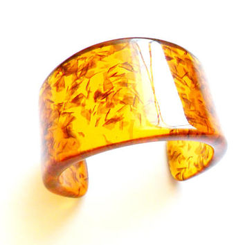 Vintage Faux Amber Cuff Bracelet - Confetti Lucite Inclusions - Faux Baltic Amber - Acrylic Plastic - Chunky Wide Bracelet - Gifts For Her