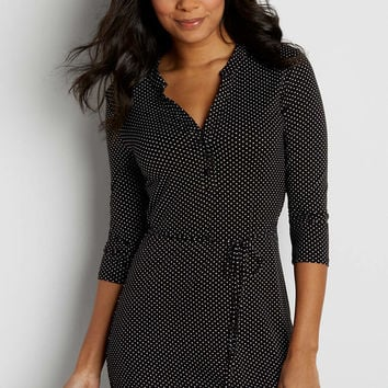 tunic top with tie waist in dot print | maurices