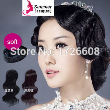 New Style Body Wave Curly Synthetic Hair Fringes Clip In Hair Bang Extensions Bridal Hairpieces Wedding Hair Accessories