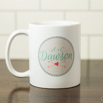 Heart and arrows personalized mug, valentines gift, gift for her, gift for him, anniversary gift M-015